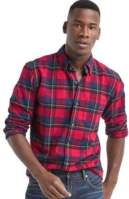 Gap Brushed flannel plaid standard fit shirt