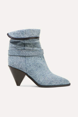 Isabel Marant Luam Leather-trimmed Denim Ankle Boots - Blue