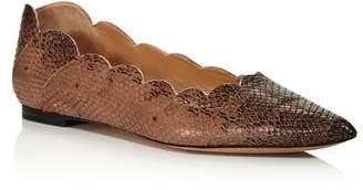 Chloé Women's Lauren Pointed Toe Snakeskin-Embossed Leather Ballerina Flats