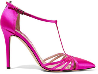SJP By Sarah Jessica Parker - Carrie Satin Pumps - Fuchsia $355 thestylecure.com