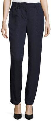 Eileen Fisher Tencel® Linen Straight-Leg Ankle Pants, Midnight, Petite $178 thestylecure.com