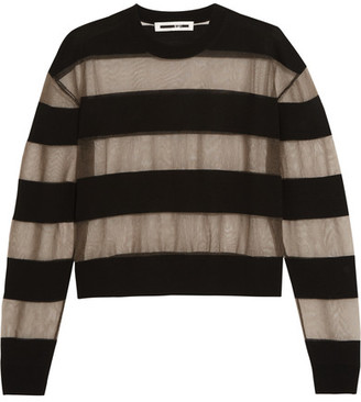 McQ Alexander McQueen - Tulle And Wool-blend Top - Black $320 thestylecure.com