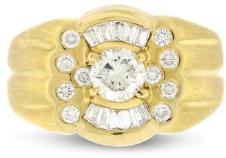 18k Yellow Gold with a Brush Finish 0.98ct. Diamond Men's Pinky Ring Size 7.75