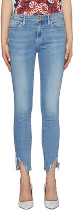 Frame 'Le High Skinny' staggered raw cuff jeans