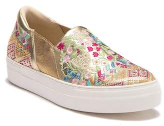 Johnny Was Vinny Morraco Embroidered Leather Slip-On Sneaker