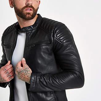 River Island Superdry black leather racer jacket