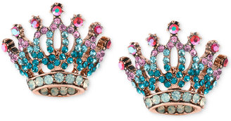 Betsey Johnson Rose Gold-Tone Pave Crystal Crown Stud Earrings $30 thestylecure.com