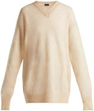 Joseph V-neck brushed mohair-blend sweater
