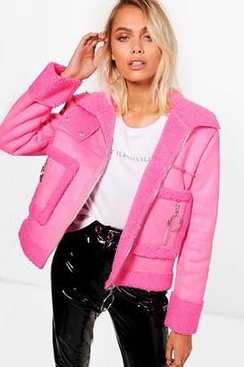 boohoo Eloise Bonded Suedette Teddy Faux Fur Biker Jacket
