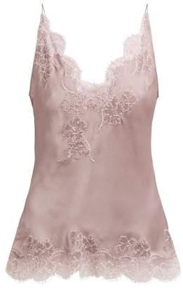 Carine Gilson Lace Embellished Silk Satin Cami Top - Womens - Light Purple