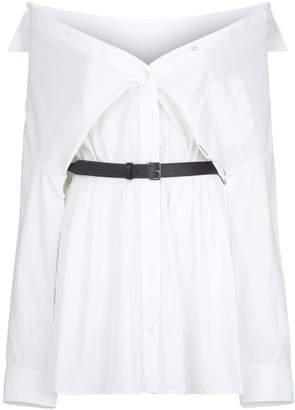 Alexander Wang Off-The-Shoulder Belted Mini Shirt Dress