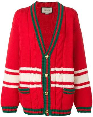 Gucci Web-trimmed cable knit cardigan