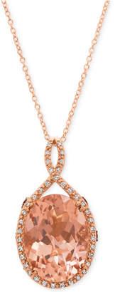 LeVian Le Vian Chocolatier® Peach MorganiteTM (6-9/10 ct. t.w.) & Diamond (1/4 ct. t.w.) Pendant Necklace in 14k Rose Gold