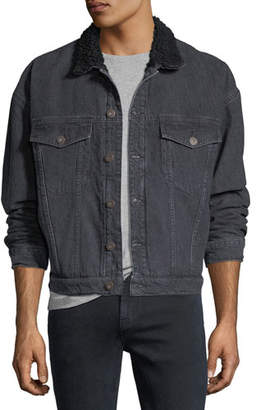 Hudson Men's Shearling-Trim Denim Trucker Jacket