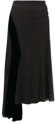 Loewe Velvet Panel Asymmetric Crinkled Skirt - Womens - Black