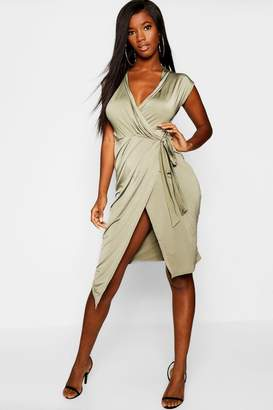 boohoo Wrap Front Midi Dress