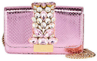 Gedebe Cliky Mini Jeweled Snakeskin Clutch Bag