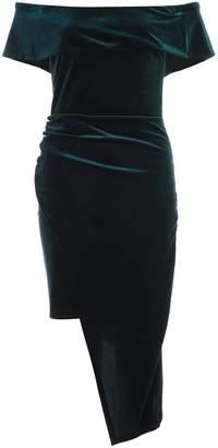 Quiz Bottle Green Velvet Wrap Asymmetrical Bodycon Dress