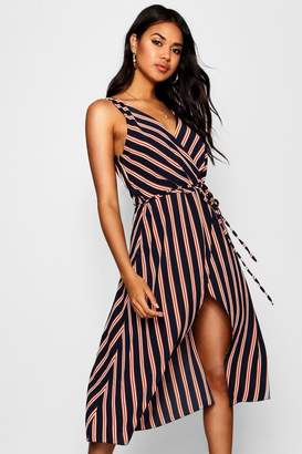 boohoo Wrap Front Tie Waist Striped Midaxi Dress