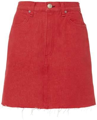 Rag & Bone Moss Red Denim Mini Skirt