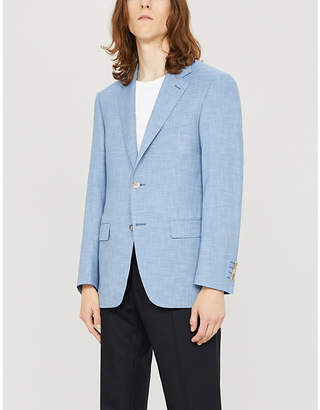 Regular-fit single-breasted wool and silk-blend blazer