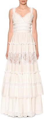 Dolce & Gabbana Sleeveless Tiered Lace-Trim V-Neck Gown