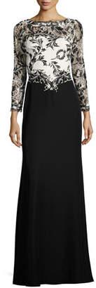 Tadashi Shoji Two-Tone Lace & Crepe Gown, Black $448 thestylecure.com