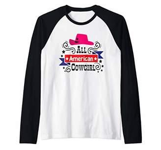 Cowgirl Rodeo Country Line Dancing Horse Western Ladies Gift Raglan Baseball Tee