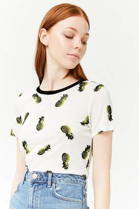 Forever 21 Pineapple Print Contrast Tee