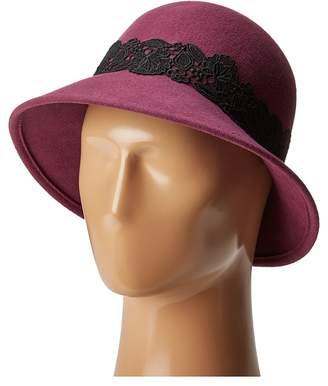 San Diego Hat Company WFH8037 Cloche with Black Lace Trim Caps