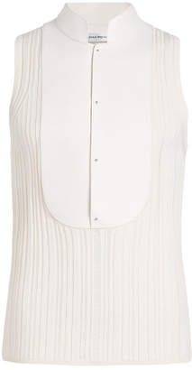 Alexander McQueen Tank Top in Silk and Cotton with Leather