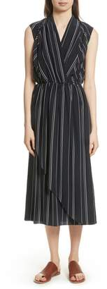 Vince Draped Front Stripe Silk Midi Dress