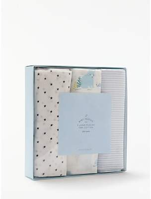 John Lewis & Partners Extra Large Classic Bear Muslin Cloths, Pack of 3, Blue/White