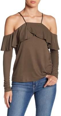 HYFVE Ruffle Hem Cold Shoulder Long Sleeve Top