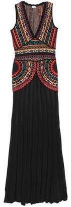 Talitha Collection Pleated Intarsia-knit Gown