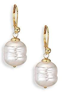 Majorica Gold Vermeil Sterling Silver& 12MM White Baroque Pearl Huggie Drop Earrings