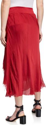 Moda Seta Elastic Waist Layered Midi Skirt