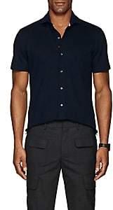 Isaia Men's Wool Piqué Shirt - Blue