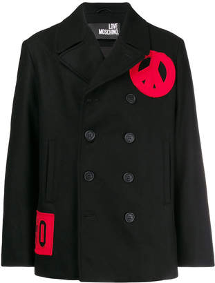 Love Moschino contrast double-breasted coat