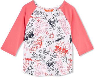 Joe Fresh Toddler Girls Print Raglan Sleeve Tee