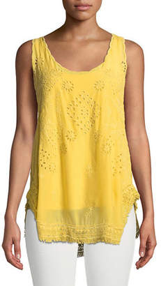 Johnny Was Eyelet Embroidered Fringe-Trim Tank, Plus Size