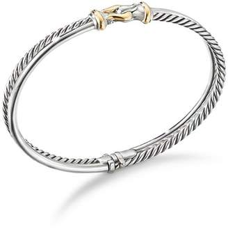 David Yurman Sterling Silver Two-Row Cable Buckle Bracelet with 18K Yellow Gold