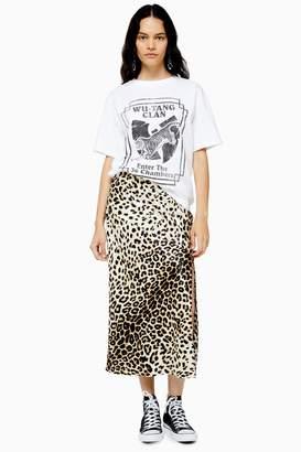 Topshop Womens San Diego Leopard Satin Bias Midi Skirt - True Leopard