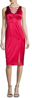 Nanette Lepore Sleeveless Lace-Up Satin Dress W/ Slit $398 thestylecure.com