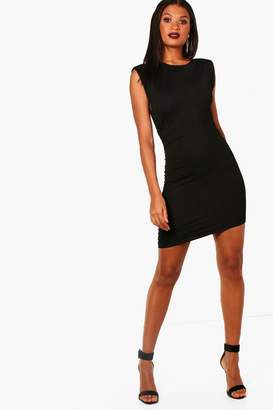 15942eee146 boohoo Shoulder Padded Ruched Bodycon Dress