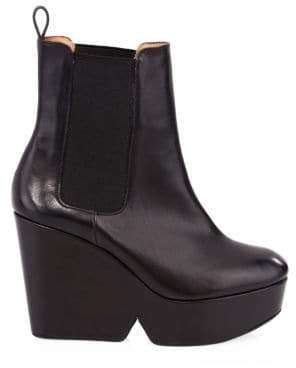 Gucci Clergerie Beatrice Leather Wedge Ankle Boots