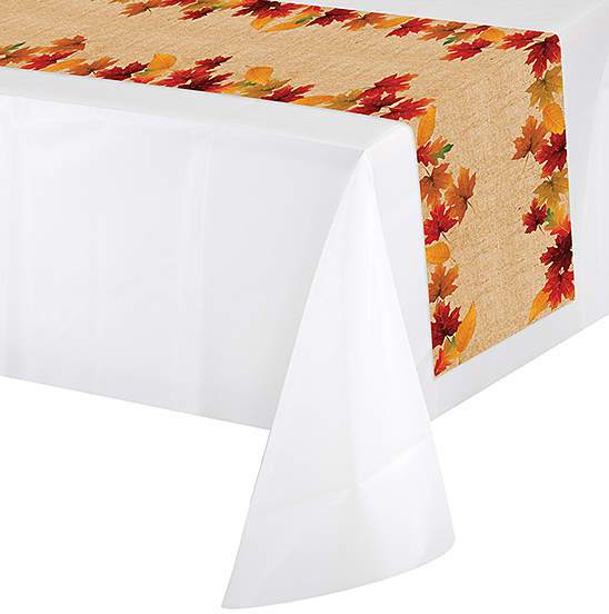 Fall Leaves Plastic Table Runner - Set of Two