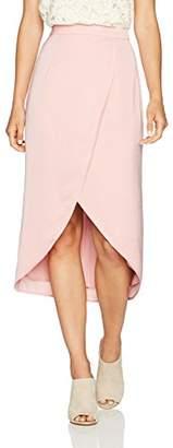 Paris Sunday Women's Faux Wrap Satin Tulip Hem Midi Skirt
