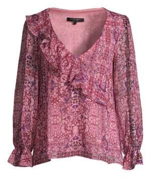 Nanette Lepore Tile Work Silk Blouse
