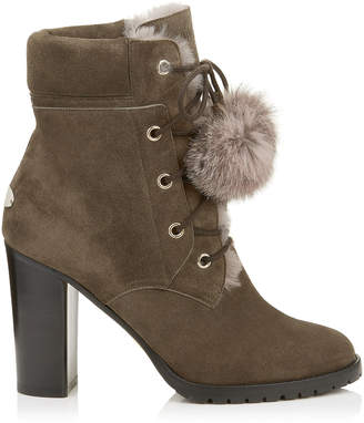 Jimmy Choo ELBA 95 Mink Suede Boots with Fur Pom Poms